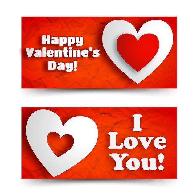 Abstracte romantische horizontale banners met groettekst en witte harten op rode verfrommeld document geïsoleerde vectorillustratie Gratis Vector