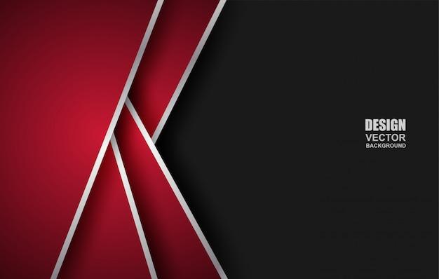 Abstracte rood-zwarte geometrische overlappingsachtergrond Premium Vector
