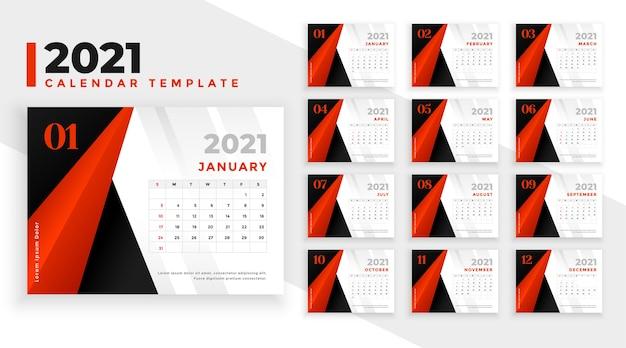 Abstracte rood zwarte nieuwe jaarkalender Gratis Vector