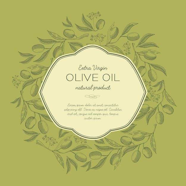 Abstracte schets organische sjabloon met tekst in elegant frame en olijven boomtakken in vintage stijl Gratis Vector