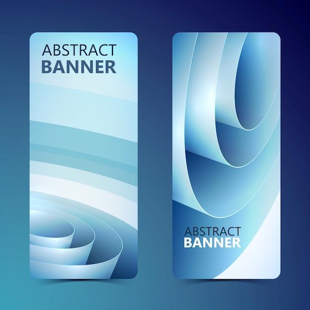 Abstracte schone verticale banners met blauwe opgerolde inpakpapierrol geïsoleerd Gratis Vector