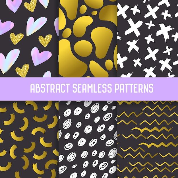 Abstracte semless-patronen met gouden glitterelementen. donkere handgetekende achtergronden memphis-stijl voor posters, omslag, inpakpapier. Premium Vector