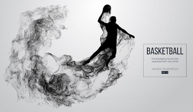 Abstracte silhouet van een basketbalspeler op witte achtergrond van deeltjes, stof, rook, stoom. basketbalspeler springen en voert slam dunk. Premium Vector