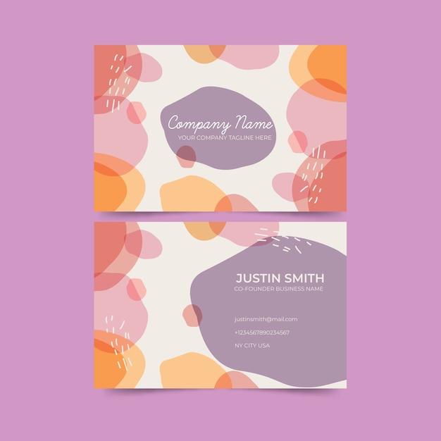 Abstracte sjabloon visitekaartje met pastel gekleurde vlekken collectie Gratis Vector