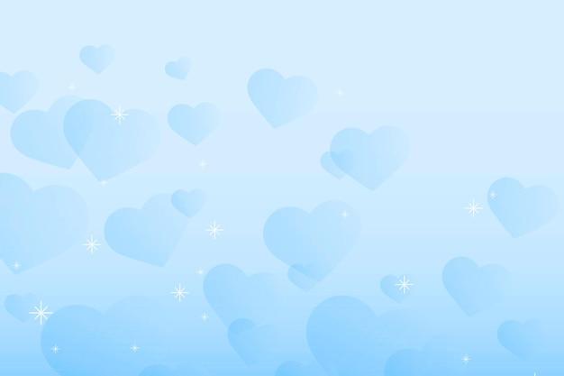 Abstracte sparkle blauwe harten achtergrond Gratis Vector