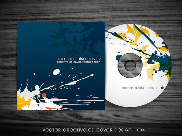 Abstracte splash stijl cd cover ontwerp Gratis Vector