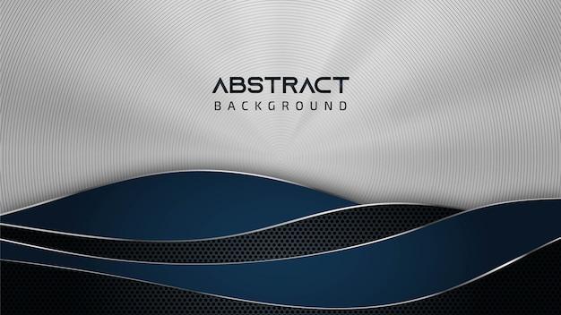Abstracte staal zilver textuur golf patroon blauwe achtergrond met kopie ruimte voor tekst Premium Vector