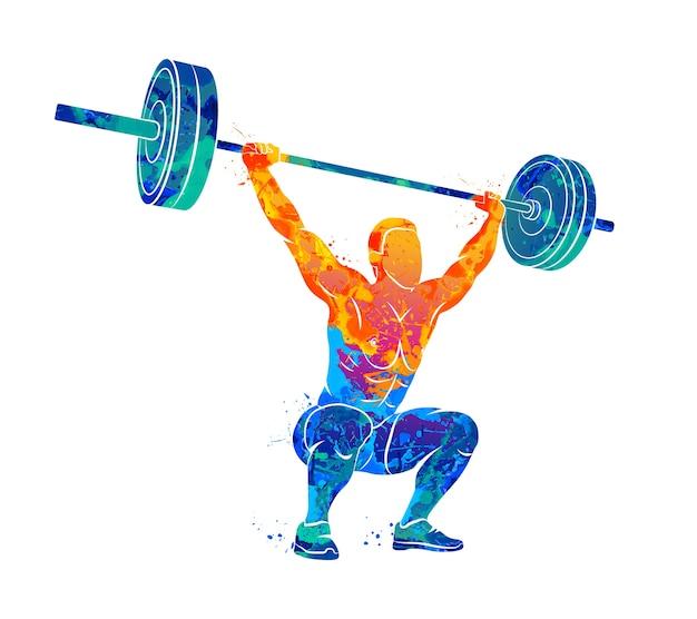 Abstracte sterke man tillen gewichten powerlifting gewichtheffen uit splash van aquarellen. illustratie van verven. Premium Vector