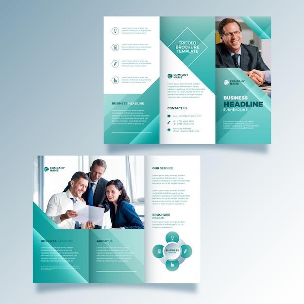 Abstracte stijl driebladige brochure Gratis Vector
