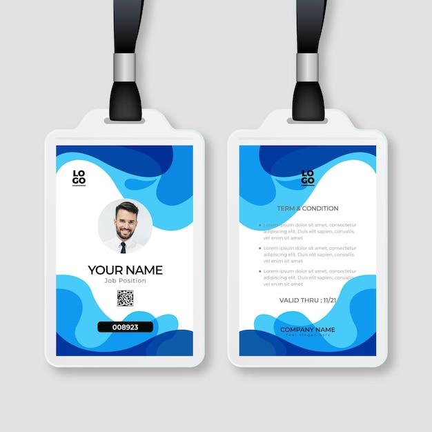 Abstracte stijl id-kaarten sjabloon met foto Premium Vector