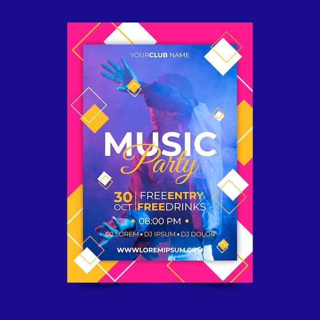 Abstracte stijl muziek poster met foto Gratis Vector
