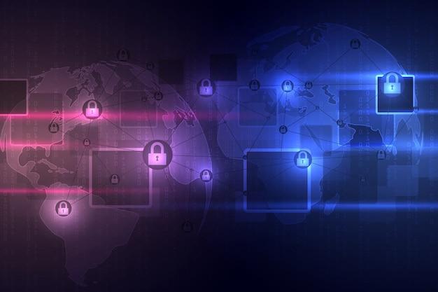 Abstracte technische achtergrond beschermt systeeminnovatie. cyber digitaal veiligheidsconcept. Premium Vector