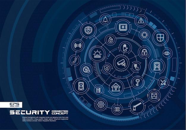 Abstracte technische achtergrond. digitaal verbindingssysteem met geïntegreerde cirkels, gloeiende dunne lijnpictogrammen. virtueel, augmented reality-interfaceconcept. toekomstige infographic illustratie Premium Vector