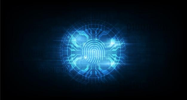 Abstracte technische achtergrond. systeemconcept veiligheid met vingerafdruk letter p teken Premium Vector
