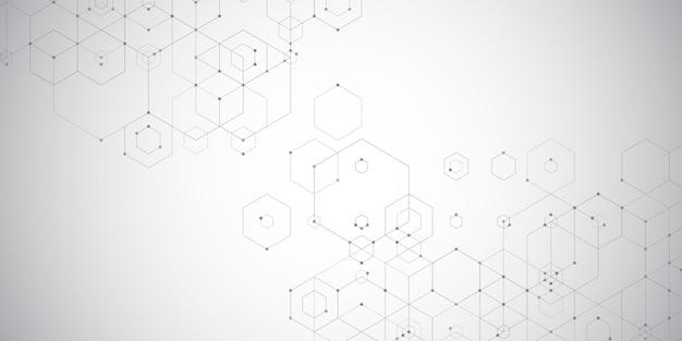 Abstracte technobanner met een zeshoekig ontwerp Gratis Vector