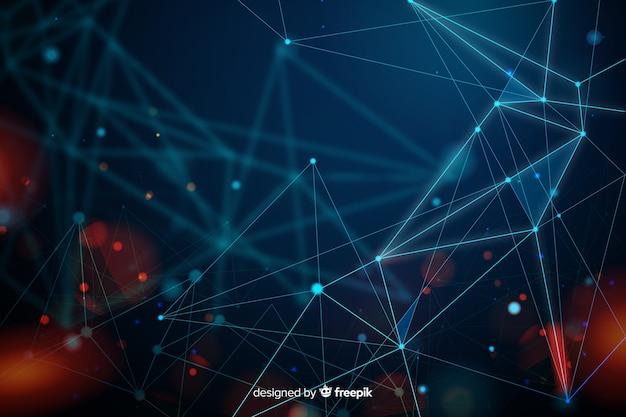 Abstracte technologie deeltje achtergrond Gratis Vector