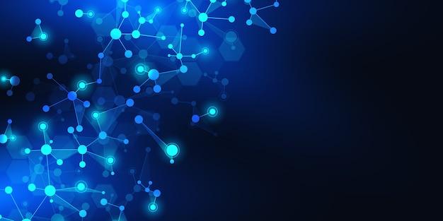 Abstracte technologie en innovatie achtergrond met moleculaire structuren en neuraal netwerk. Premium Vector