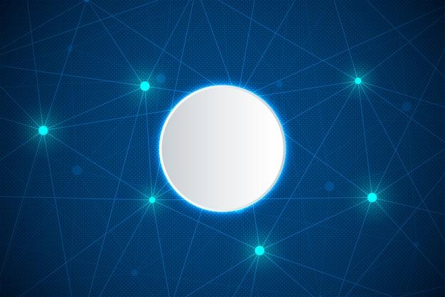 Abstracte technologie en wetenschapsachtergrond met verbonden lijn en punten. Premium Vector
