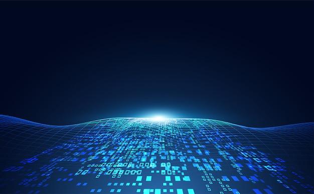Abstracte technologie golf concept werkgegevens van kunstmatige intelligentie Premium Vector