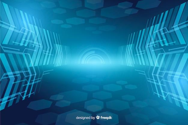 Abstracte technologische lichte tunnelachtergrond Gratis Vector