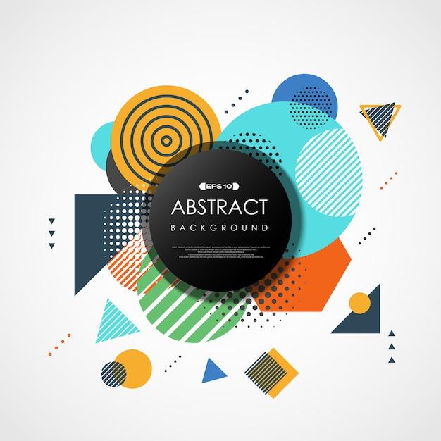 Abstracte trendy kleurrijke geometrische dekking. Premium Vector