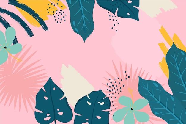 Abstracte tropische bladeren achtergrond Gratis Vector