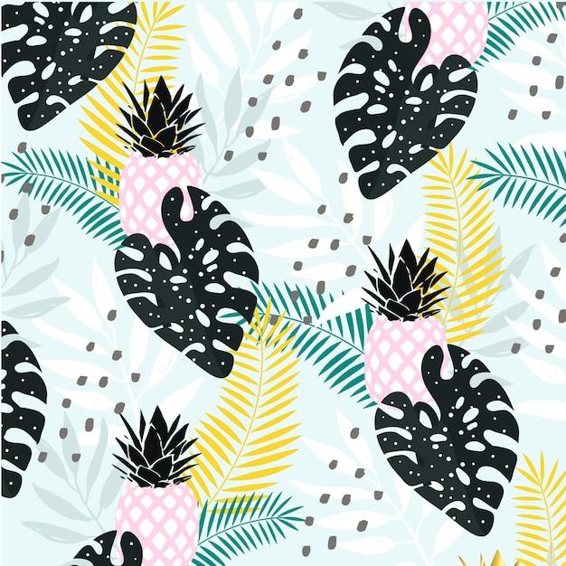 Abstracte tropische bladeren met ananas achtergrond Premium Vector