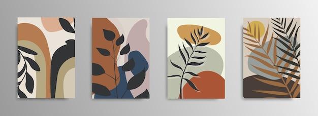 Abstracte tropische bladeren poster covers. abstracte achtergrond. tropische bloem mode patroon. palm, exotische bladeren. voorraad. Premium Vector