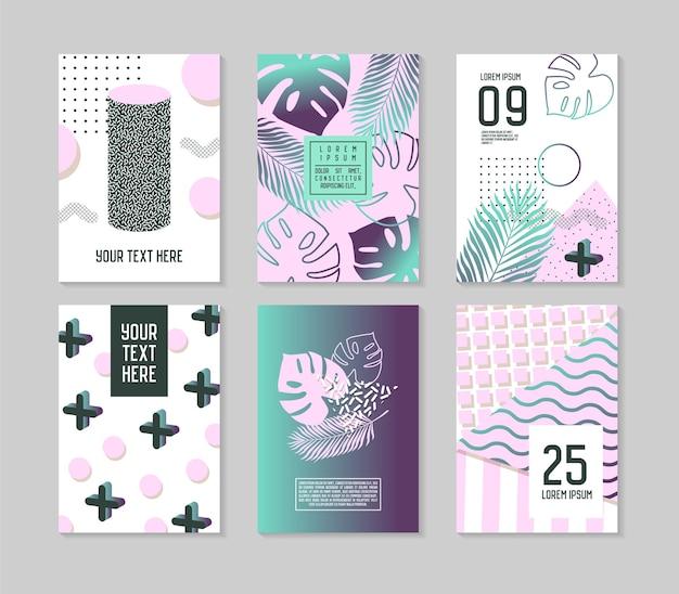 Abstracte tropische poster sjablonen instellen met palmbladeren en geometrische elementen. hipster memphis-stijl brochure banners flyer. Premium Vector