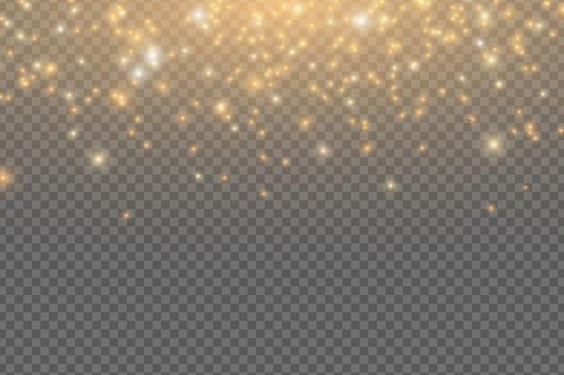 Abstracte vallende gouden lichten. magische gouden stof en schittering geïsoleerd op transparante achtergrond. feestelijke kerstverlichting. gouden regen. Premium Vector