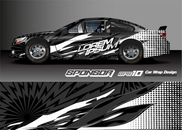 Abstracte vector als achtergrond voor het ontwerp en de voertuigkleuren van de raceautowrap Premium Vector