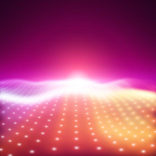 Abstracte vectorachtergrond met kleurrijke neonlichten die golvend oppervlak vormen. neon cyber oppervlaktestroom. soepele kleurrijke cyberverlichting van gloeiende deeltjes. Gratis Vector