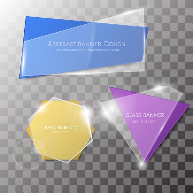 Abstracte vectorglasbanner ser. Premium Vector