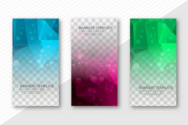 Abstracte veelhoek transparante banners instellen sjabloon vector Gratis Vector