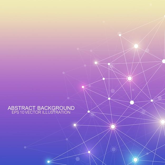 Abstracte veelhoekige achtergrond met aaneengesloten lijnen en punten. minimalistisch geometrisch patroon. molecuulstructuur en communicatie. grafische plexus achtergrond. wetenschap, geneeskunde, technologieconcept. Premium Vector