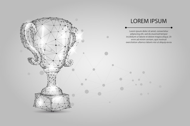Abstracte veelhoekige trofee beker. lage poly draadframe vectorillustratie. kampioenenprijs voor sportoverwinning Premium Vector