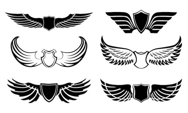 Abstracte veren vleugels pictogrammen instellen Gratis Vector