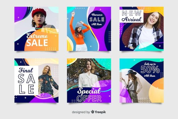 Abstracte verkoop instagram postinzameling met foto Gratis Vector