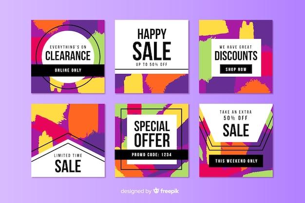 Abstracte verkoop instagram postverzameling Gratis Vector