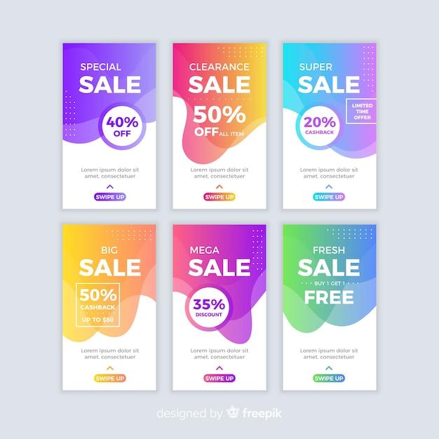 Abstracte verkoop instagram verhaalcollectie Gratis Vector