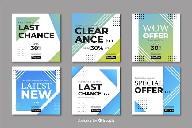 Abstracte verkoop promotie banners collectie Gratis Vector