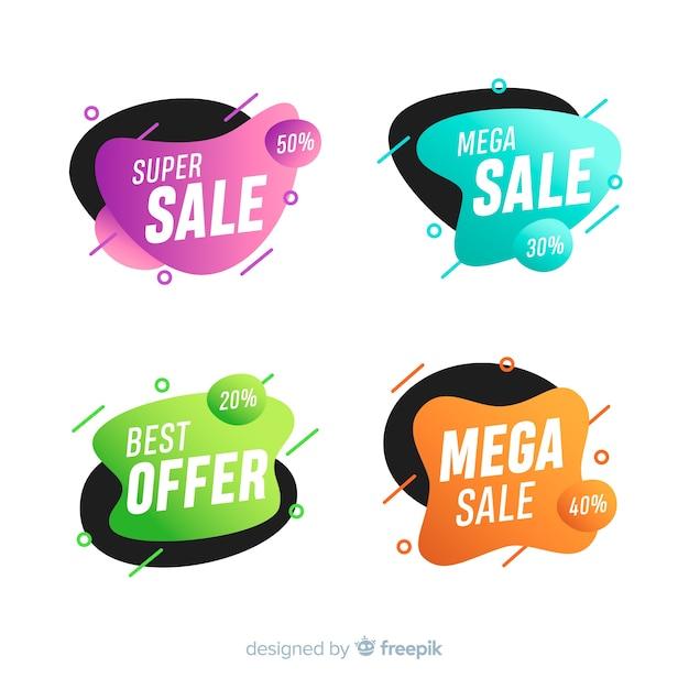 Abstracte verkoopbanners in vloeibare stijl Gratis Vector