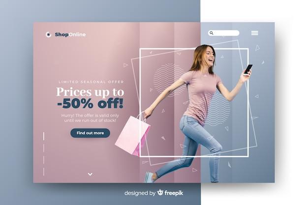 Abstracte verkooplandingspagina met afbeelding Gratis Vector