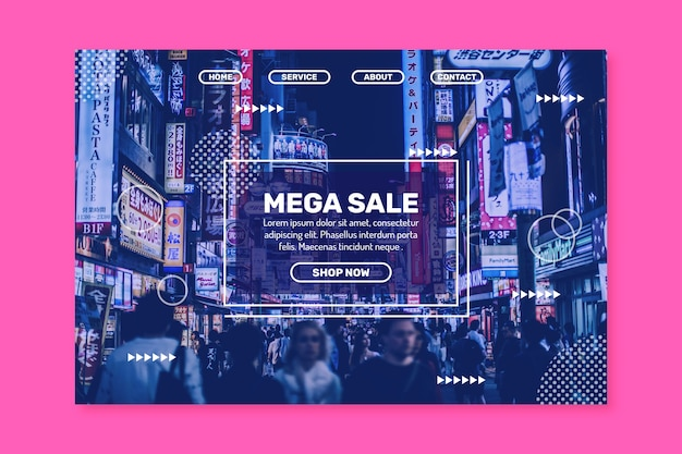 Abstracte verkooplandingspagina met foto Gratis Vector