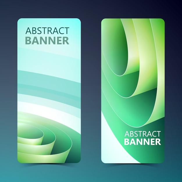 Abstracte verticale banners met groene inwikkeling van opgerolde papierrol in lichte stijl geïsoleerd Gratis Vector