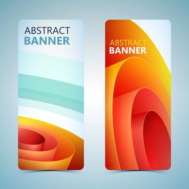 Abstracte verticale banners met oranje gerold inpakpapier geïsoleerd Gratis Vector