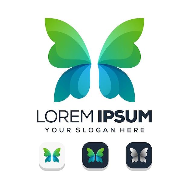 Abstracte vlinder logo Premium Vector