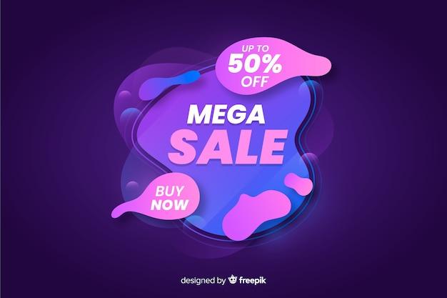 Abstracte vloeibare mega-verkoop achtergrond Gratis Vector