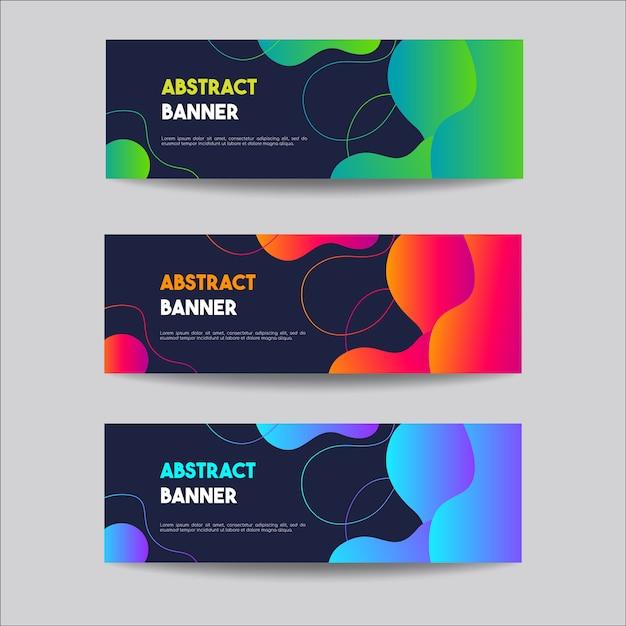 Abstracte vloeibare verloop banner instellen Premium Vector