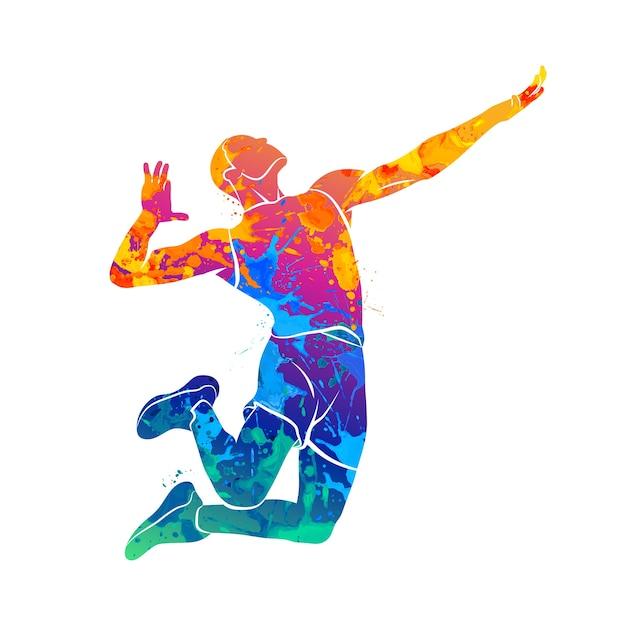Abstracte volleyballer springen uit een scheutje aquarellen. illustratie van verven. Premium Vector